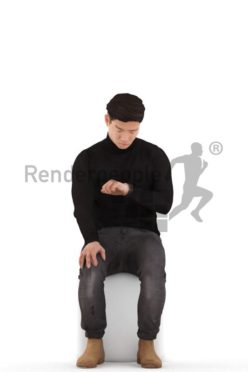 3d people casual, asian 3d man sitting and looking on his watch