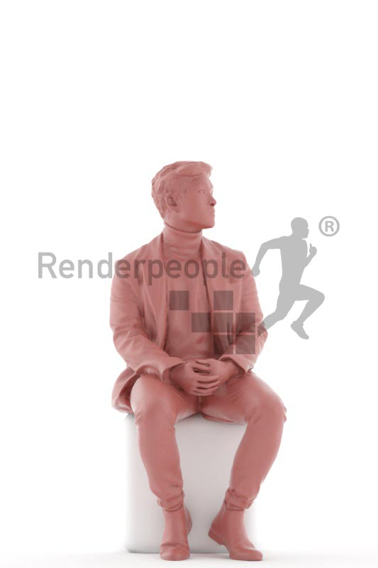 3d people casual, asian 3d man sitting