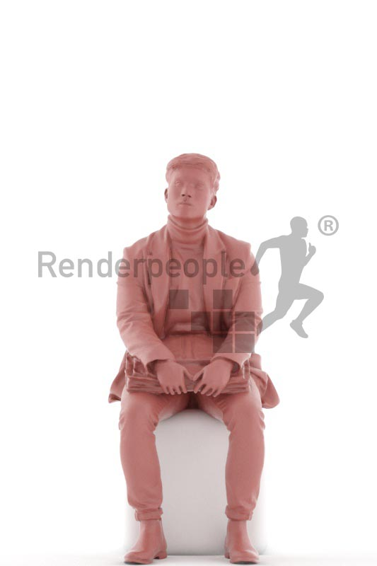 3d people casual, asian 3d man sitting, waiting with his briefcase