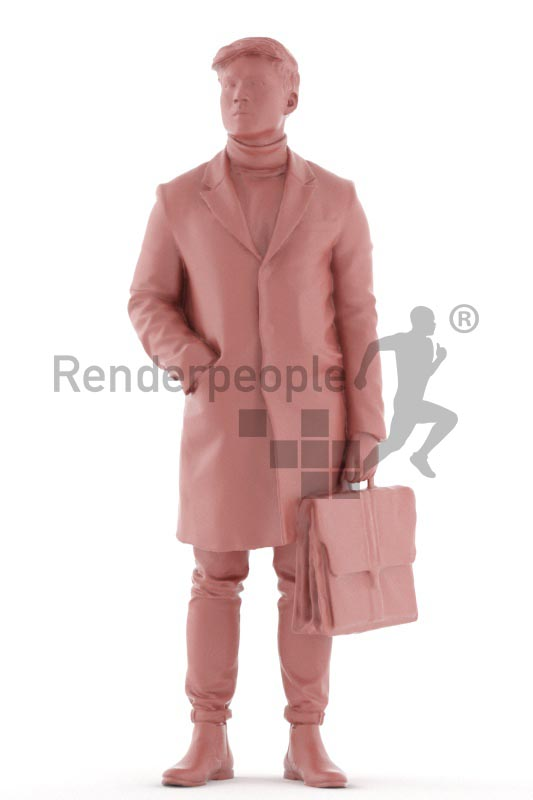 3d people casual, asian 3d man standing, waiting with his briefcase