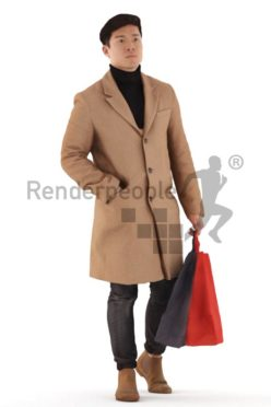 3d people casual, asian 3d man walking with shopping bags