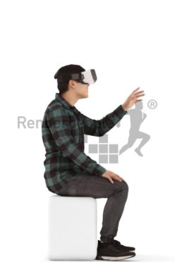 3d people casual, asian 3d man sitting with vr goggless