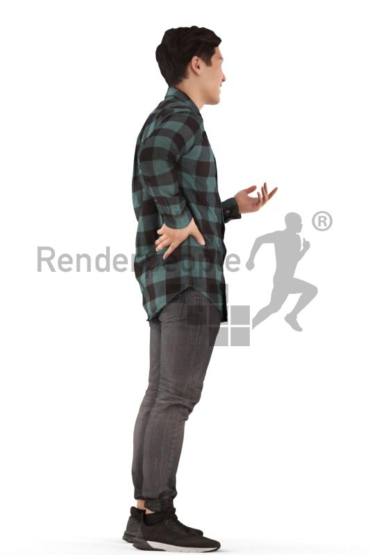 3d people casual, asian 3d man standing and discussing