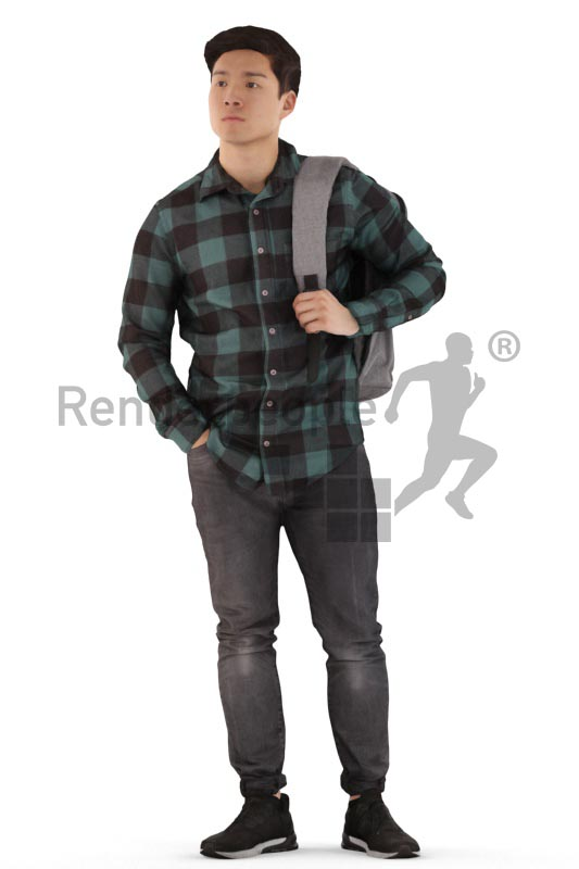 3d people casual, asian 3d man standing, waiting with a bagpack