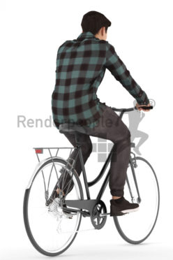 3d people casual, asian 3d man riding a bikea