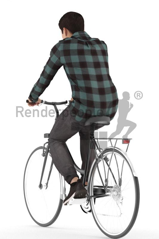 3d people casual, asian 3d man riding a bikea