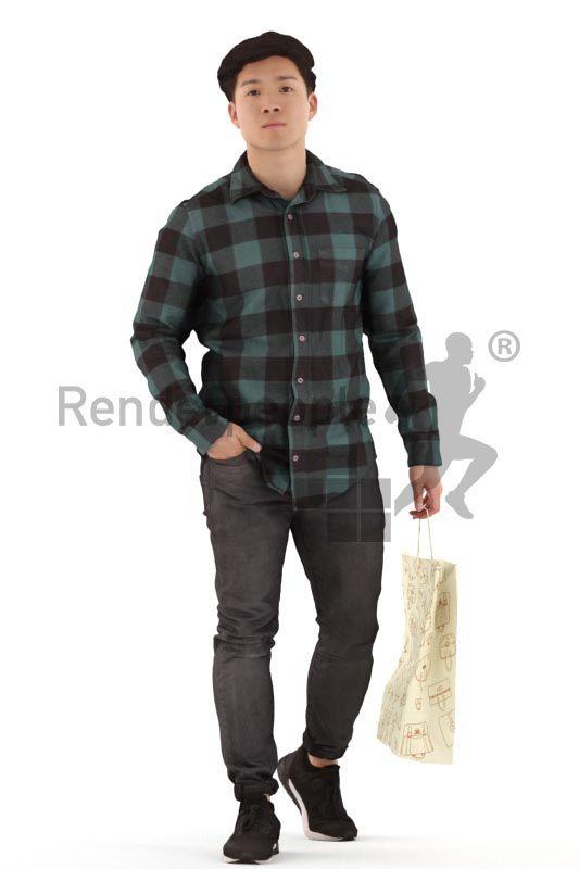 3d people casual, asian 3d man walking with a shopping bag