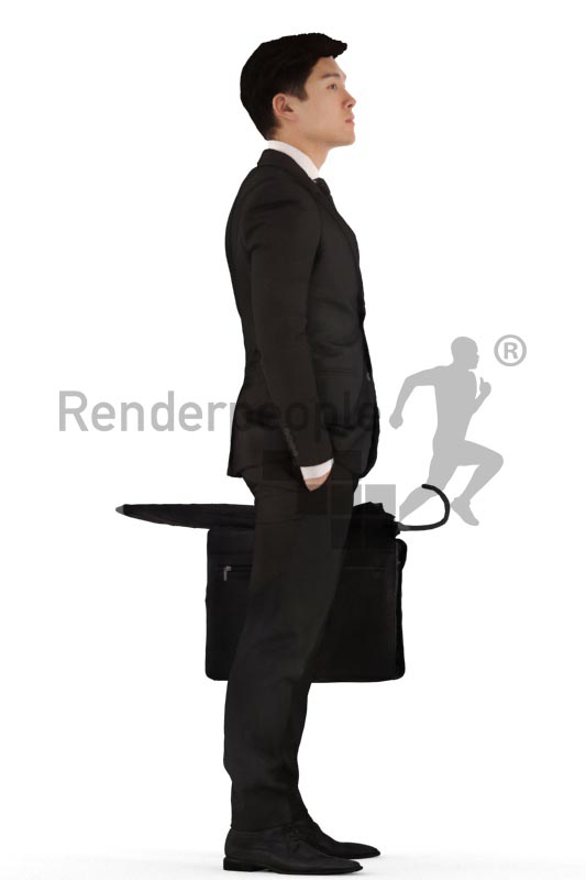 3d people business, asian 3d man standing with a briefcase and umbrella in his hand