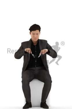 3d people business, asian 3d man sitting and eating dinner