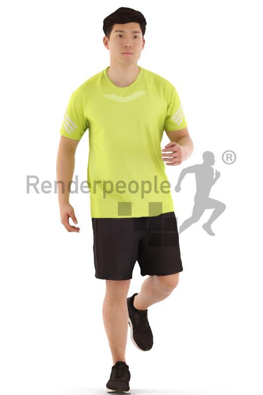 3d people sports, asian 3d man running