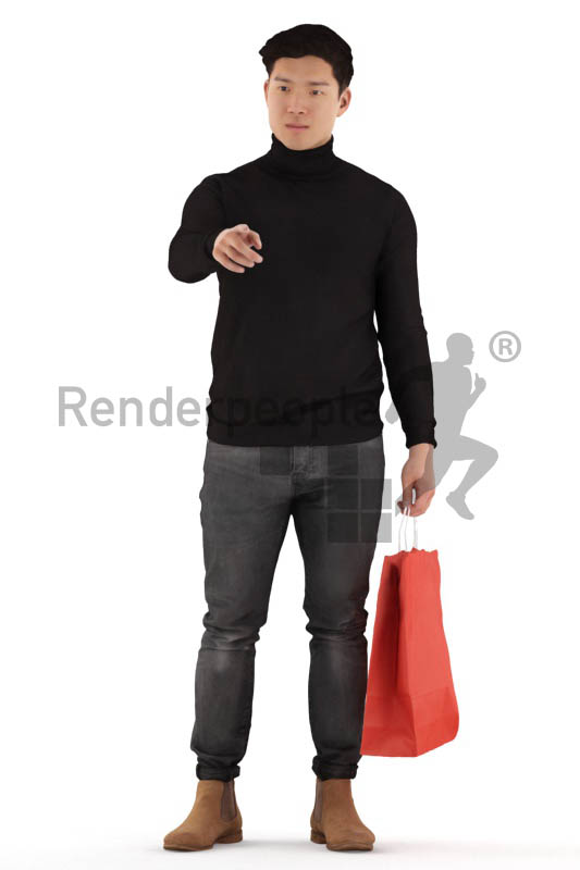 3d people casual, asian 3d man standing pointing at something
