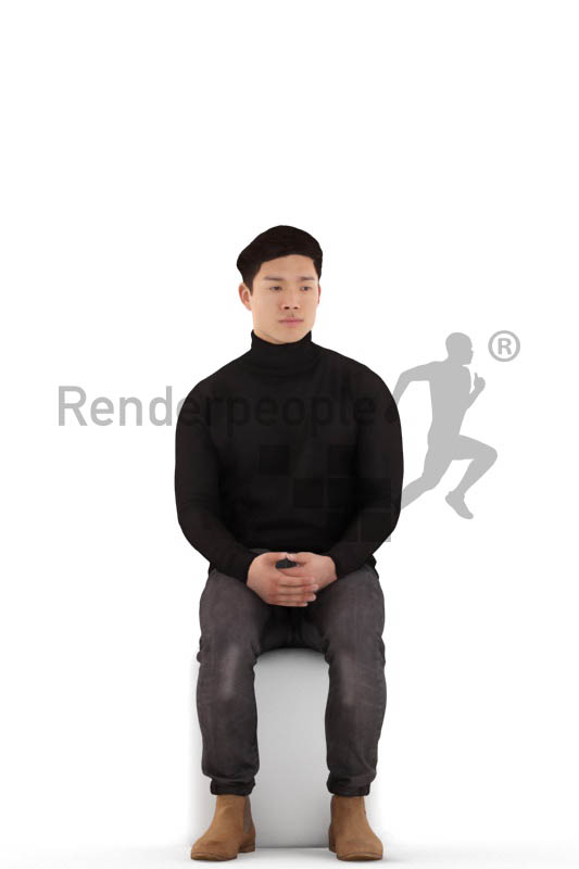 3d people casual, asian 3d man sitting and waiting
