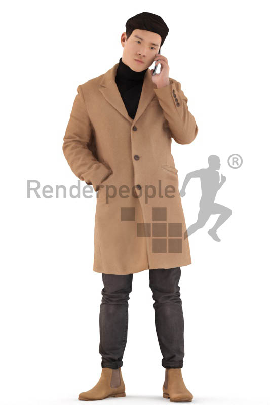3d people casual, asian 3d man standing and calling