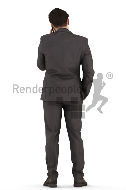 3d people business, asian 3d man standing and calling