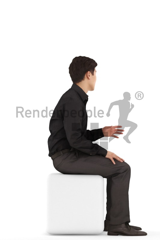 3d people business, asian 3d man sitting and waiting