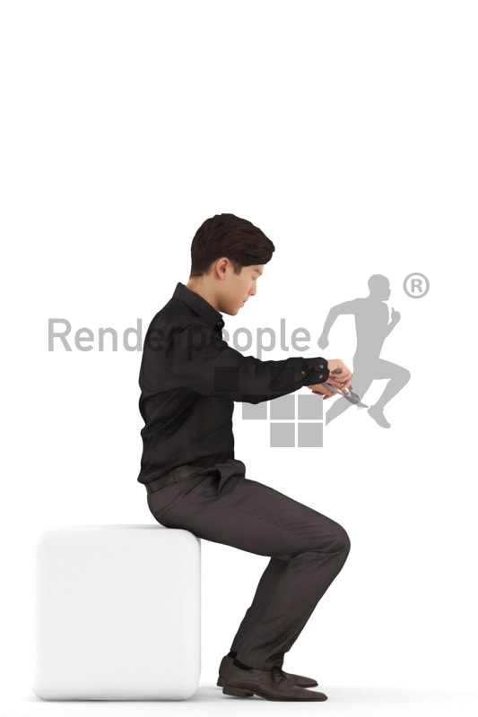 3d people business, asian 3d man sitting and eating
