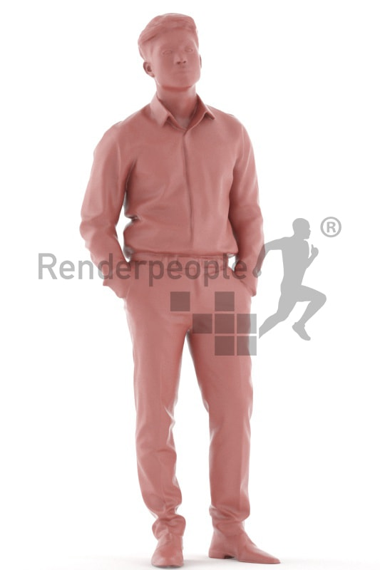 3d people business, asian 3d man standing with his hands in his pokets
