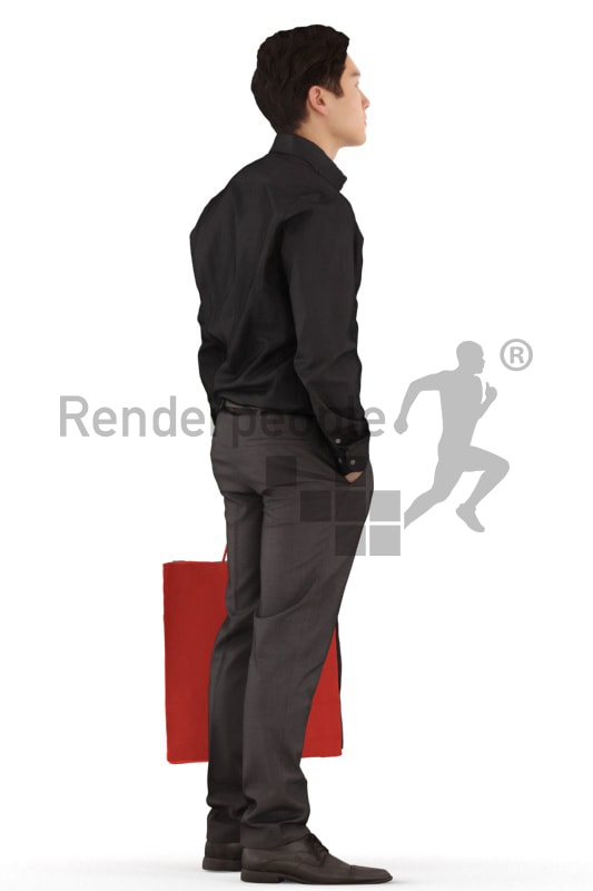 3d people business, asian 3d man standing with bags
