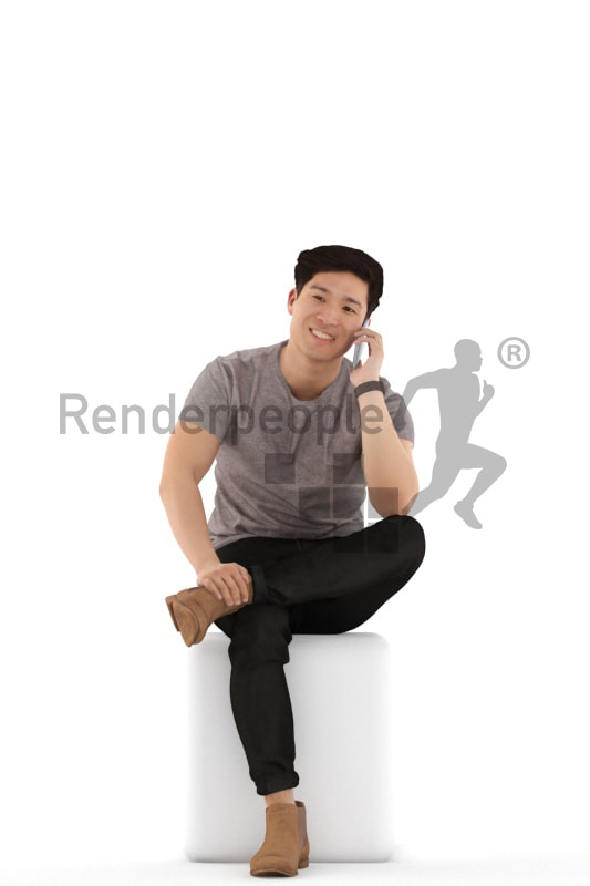 3d people casual, asian 3d man sitting and callling