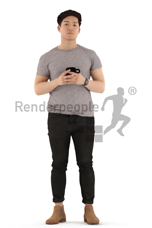 3d people casual, asian 3d man standing and drinking coffee