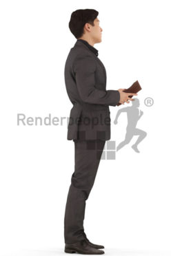 3d people business, asian 3d man standing with briefcase