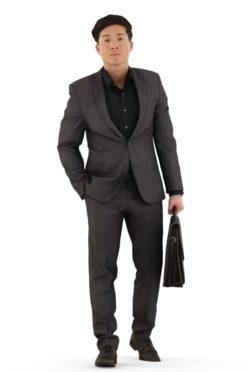 3d people business, asian 3d man walking