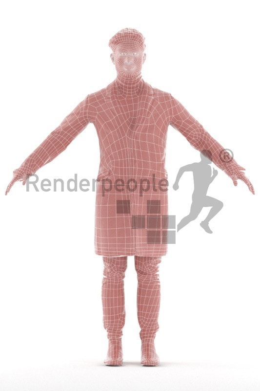 3d people outdoor, rigged young asian man in A Pose