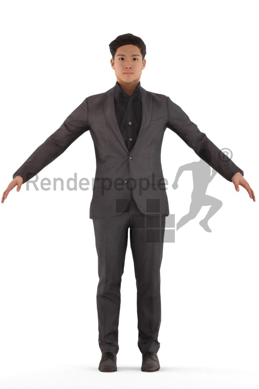 3d people business, rigged young asian man in A Pose