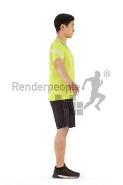 3d people sports, rigged young asian man in A Pose