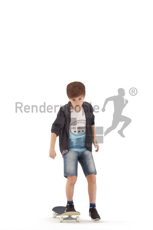 Animated 3D People model for Unreal Engine and Unity, white boy skateboarding