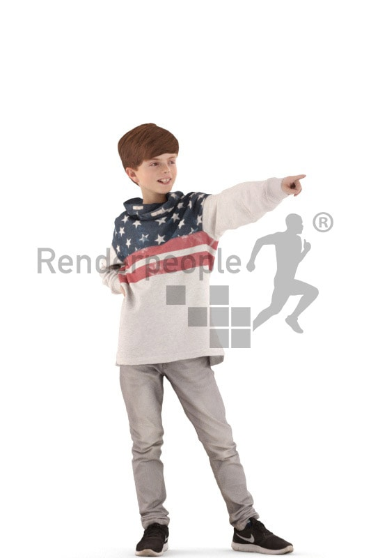 3d people casual, white 3d kid pointing
