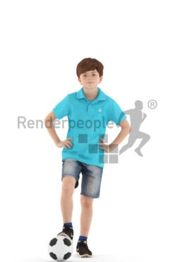 3d people casual, white 3d kid playing soccer