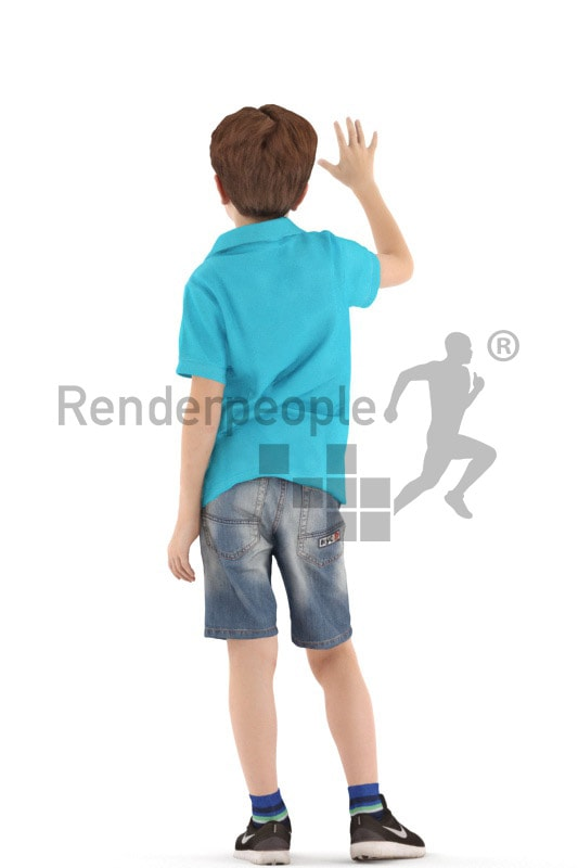 3d people casual, white 3d kid waving