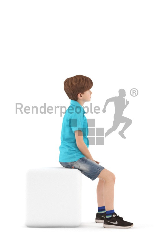 3d people casual, white 3d kid sitting