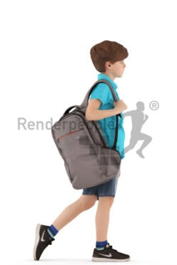 3d people casual, white 3d kid walking