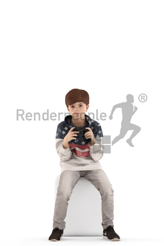 3d people casual, white 3d kid sitting and gaming