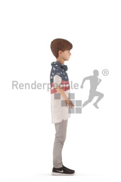3d people casual, rigged kid in A Pose