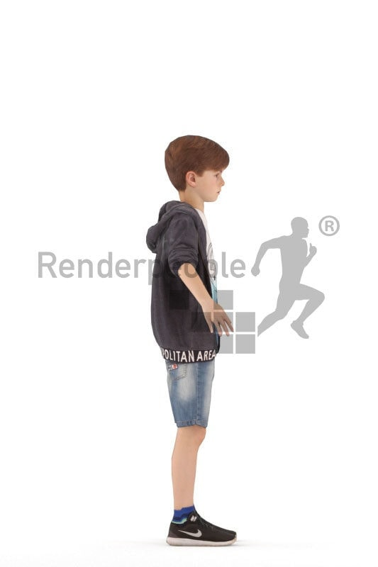 3d people casual, white rigged 3d boy in A Pose