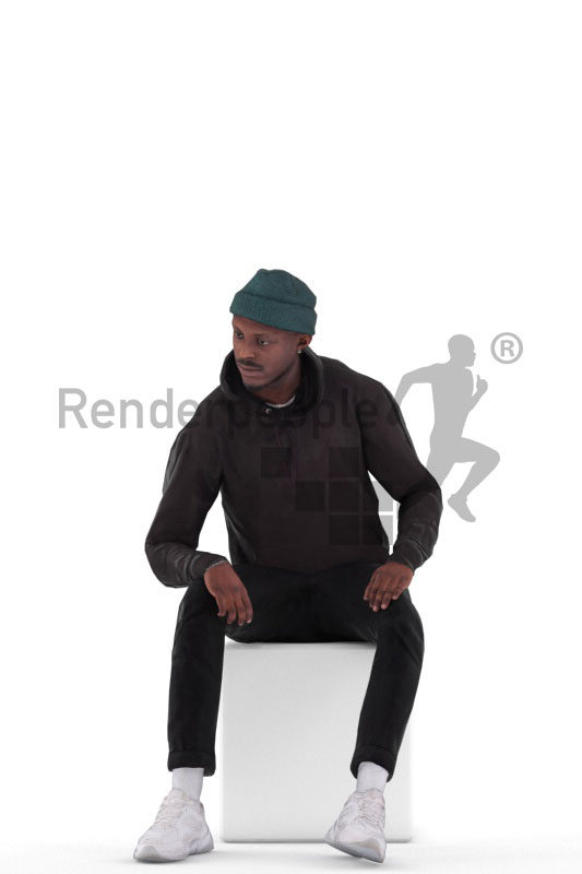 Animated 3D People model for realtime, VR and AR – black man in casual streetwear, sitting