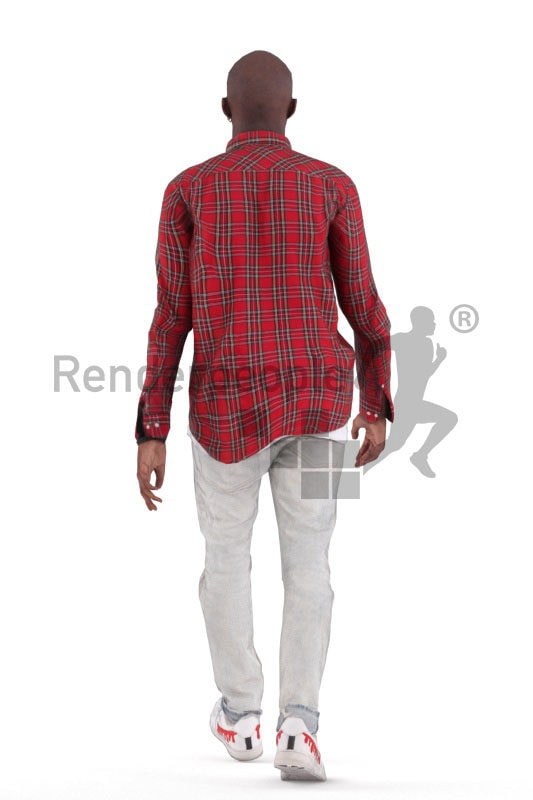Animated 3D People model for realtime, VR and AR – black man in smart casual look, walking
