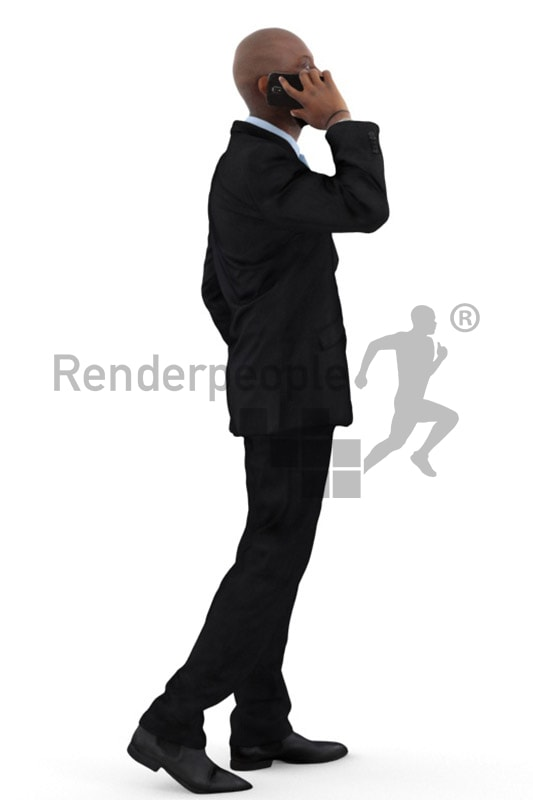 3d people business, black 3d man walking and talking on the phone