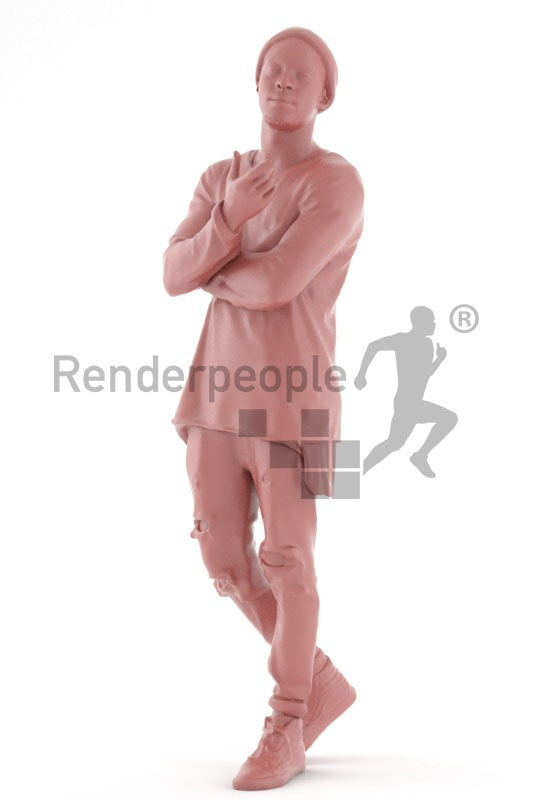 3d people casual, black 3d man gesturing