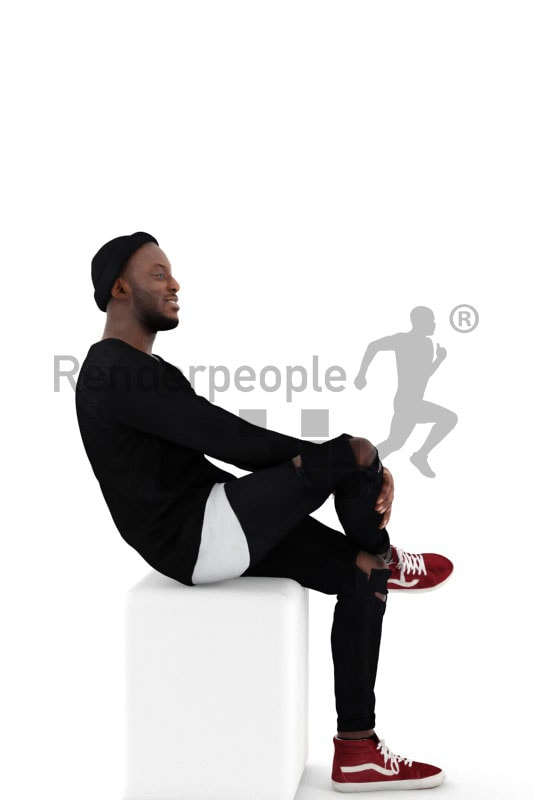 3d people casual, black 3d man sitting and smiling