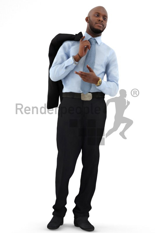 3d people business, black 3d man carrying his jacket over his shoulder