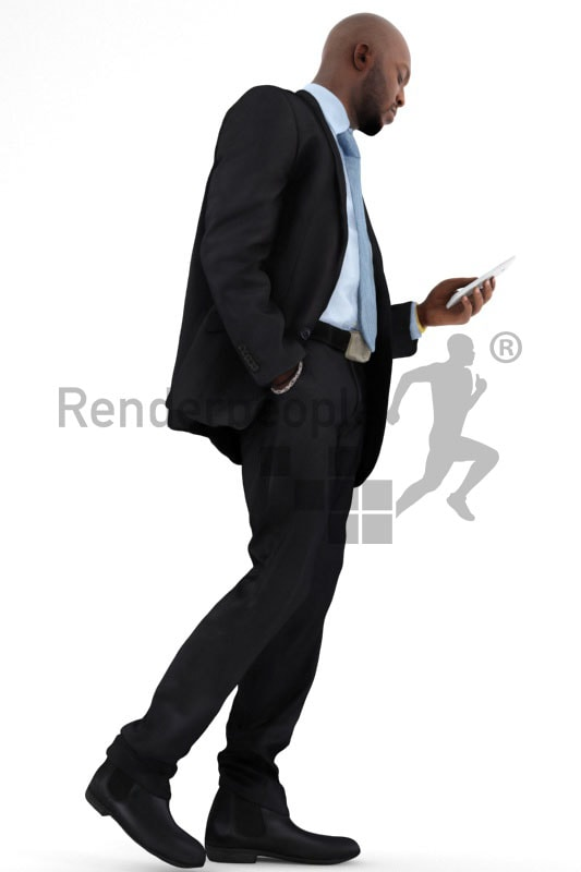 3d people business, black 3d man walking and checking his phone