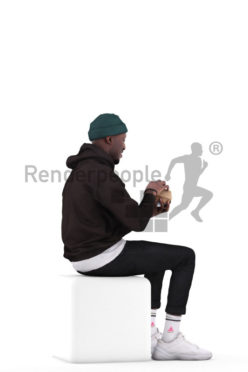 Photorealistic 3D People model by Renderpeople – black man in streetwear, sitting and opening a burger box, eating