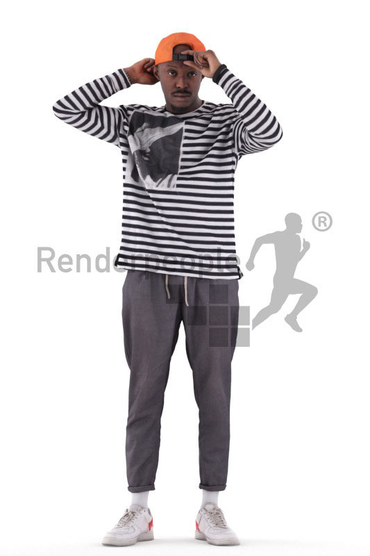 Photorealistic 3D People model by Renderpeople – black male in casual streetwear, putting on his cap