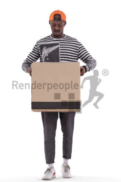Posed 3D People model for renderings – black man carrying a packing case
