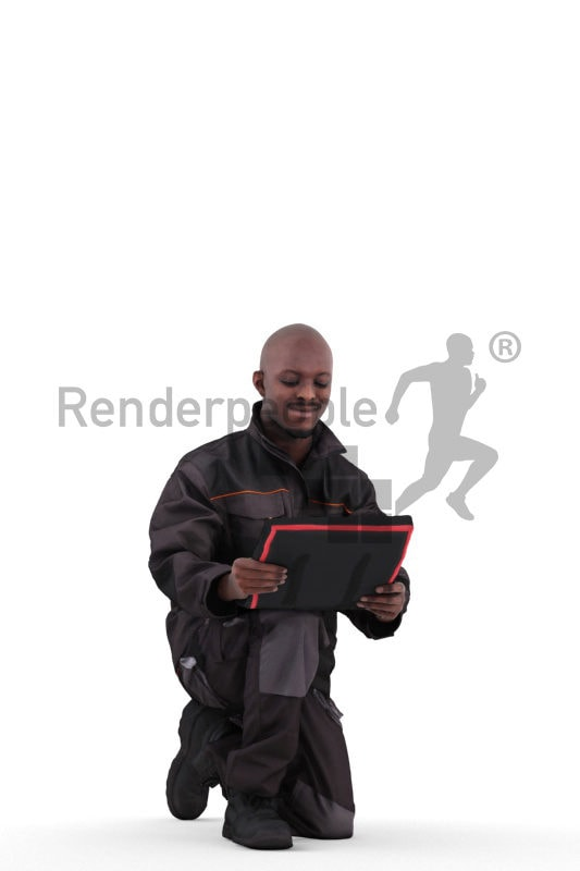 3d people worker, black 3d man crouching and reading