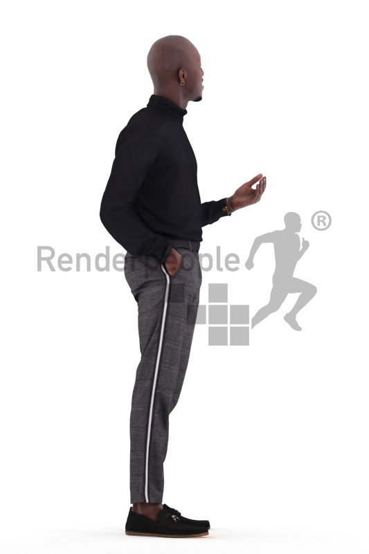 3d people casual, 3d black man standing and talking
